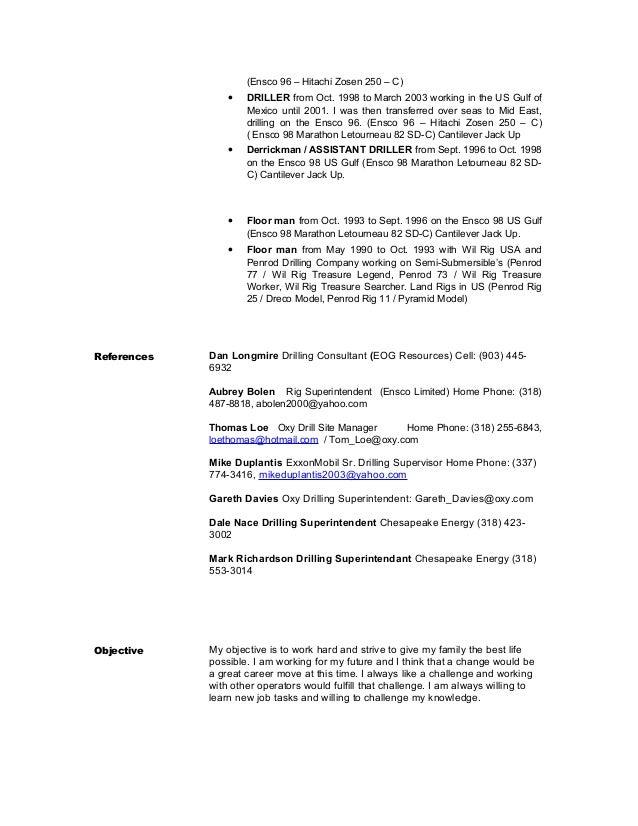 Resume driller skills offshore