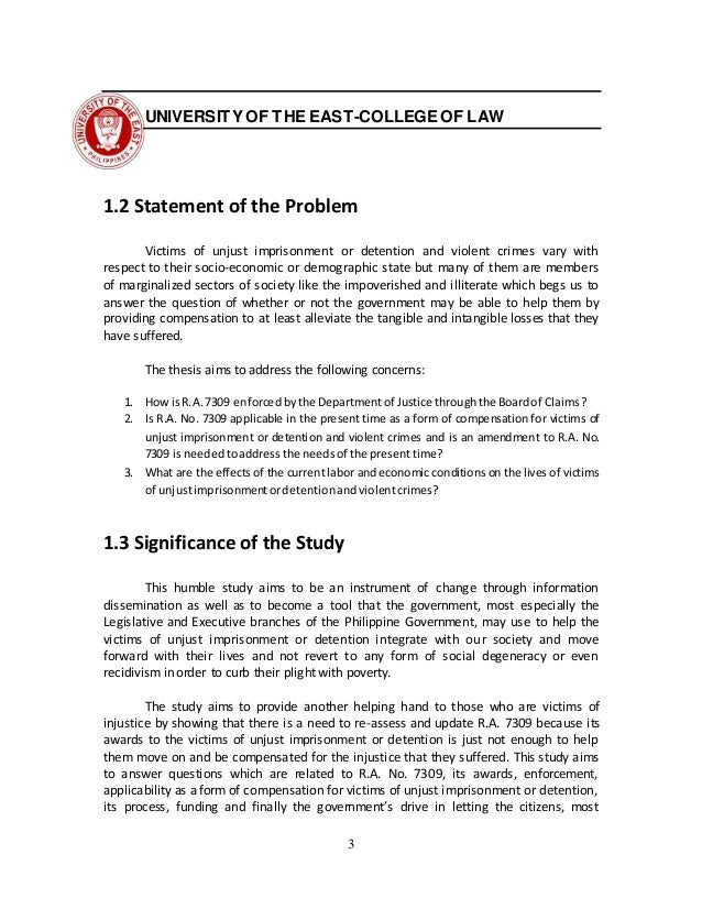 thesis aim of the study