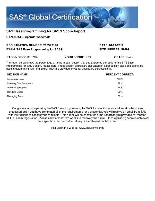 Upendar Base SAS Certification Score Report