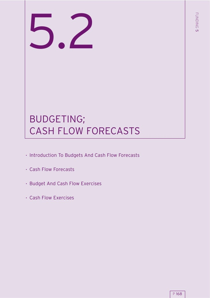 FUNDING 5 5.2  BUDGETING;  CASH FLOW FORECASTS  . Introduction To Budgets And Cash Flow Forecasts  . Cash Flow Forecasts  ...