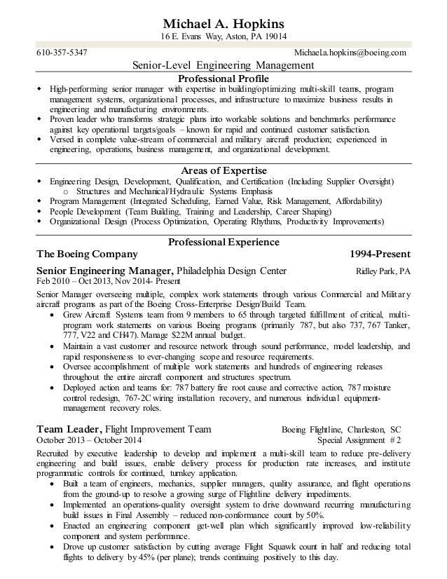 Michael A. Hopkins 16 E. Evans Way, Aston, PA 19014 610-357-5347 Michael.a.hopkins@boeing.com Senior-Level Engineering Man...