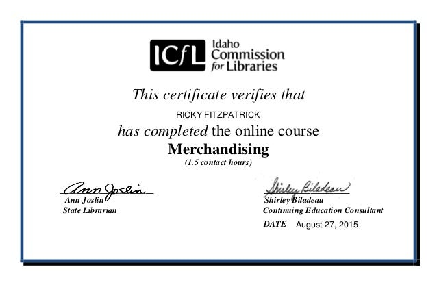 Icfl Library Merchandising Course Certificate