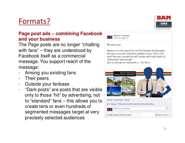 """Page post ads – combining Facebook and your business The Page posts are no longer """"chatting with fans"""" – they are understo..."""