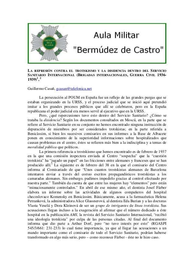 LA REPRESIÓN CONTRA EL TROTSKISMO Y LA DISIDENCIA DENTRO DEL SERVICIO SANITARIO INTERNACIONAL (BRIGADAS INTERNACIONALES, G...
