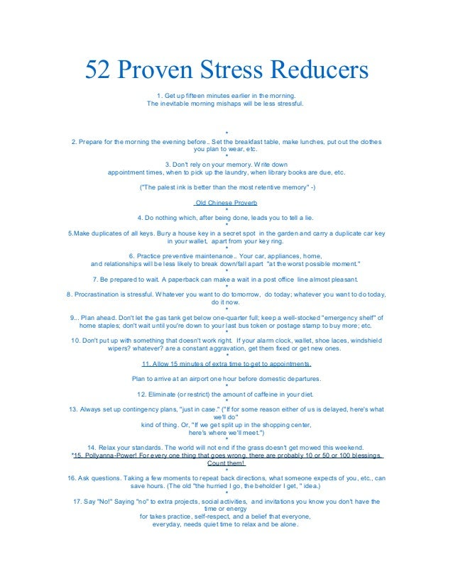 stress reducers