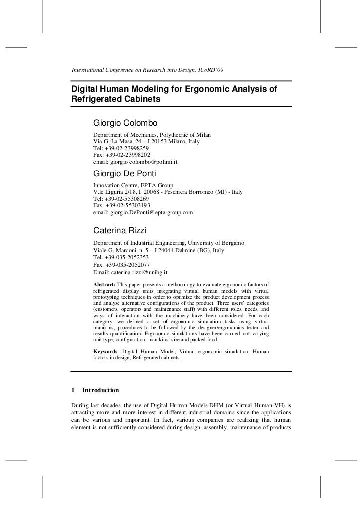 International Conference on Research into Design, ICoRD'09Digital Human Modeling for Ergonomic Analysis ofRefrigerated Cab...