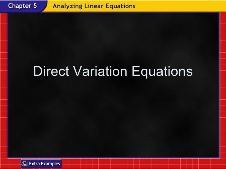 Direct Variation Equations