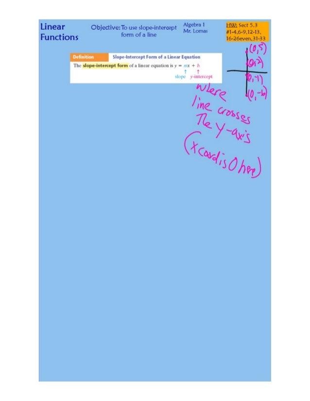 Linear Functions  Thu slope-intercept form uf :1 lll1c. 'II'cql. l;IIinI) is v =   + V  Algebra 1  ObJectIve: To use slope...