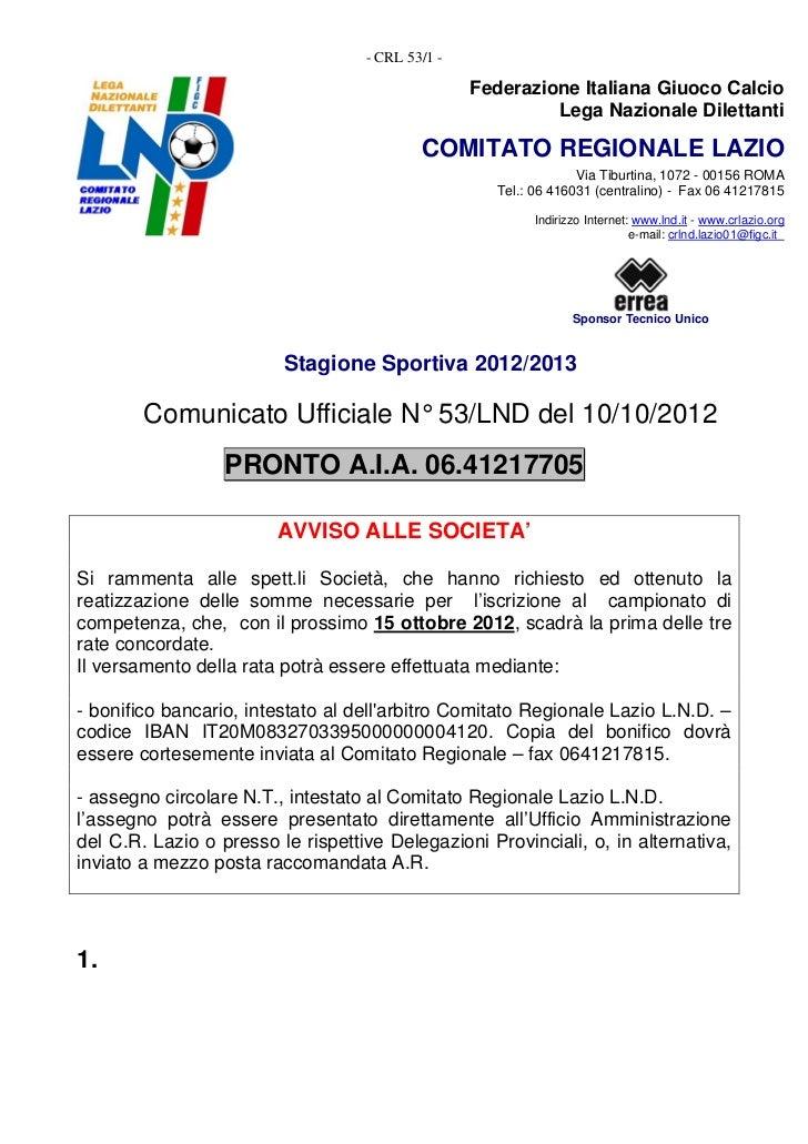 - CRL 53/1 -                                                  Federazione Italiana Giuoco Calcio                          ...