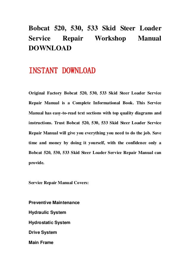 bobcat 520 530 533 skid steer loader service repair workshop manual download 1 638?cb=1358061492 530 bobcat wiring diagram bobcat wiring harness adapter, bobcat  at bayanpartner.co