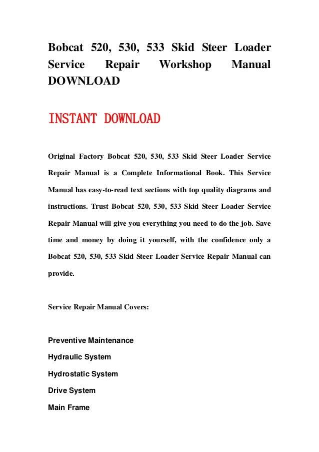 bobcat 520 530 533 skid steer loader service repair workshop manual download 1 638?cb=1358061492 530 bobcat wiring diagram bobcat wiring harness adapter, bobcat  at reclaimingppi.co