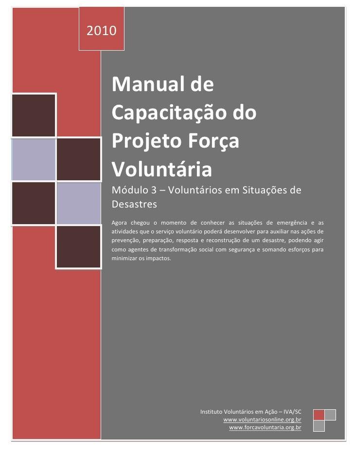 Módulo 3 – Voluntários em Situações de Desastres