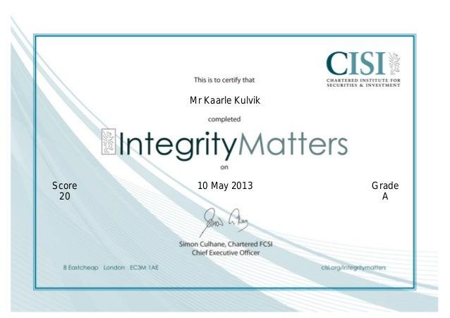 CISI Integrity Matters