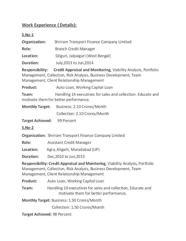 SlideShare  Credit Manager Resume