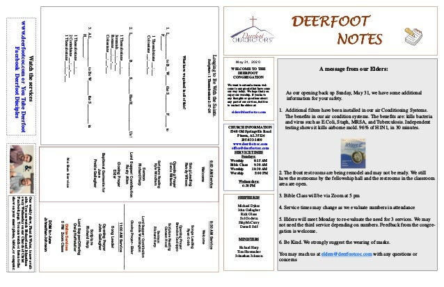 DEERFOOTDEERFOOTDEERFOOTDEERFOOT NOTESNOTESNOTESNOTES May 31, 2020 WELCOME TO THE DEERFOOT CONGREGATION We want to extend ...