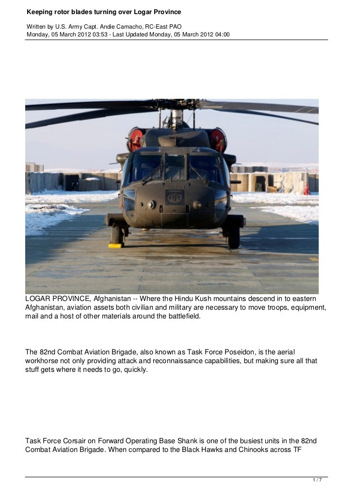 Keeping rotor blades turning over Logar ProvinceWritten by U.S. Army Capt. Andie Camacho, RC-East PAOMonday, 05 March 2012...