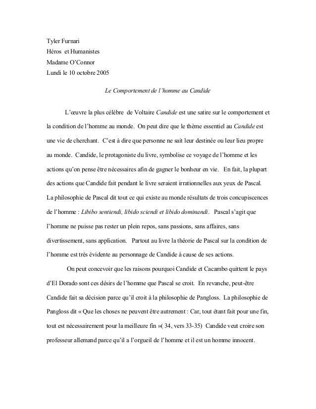 Tyler Furnari Héros et Humanistes Madame O'Connor Lundi le 10 octobre 2005 Le Comportement de l'homme au Candide L'œuvre l...