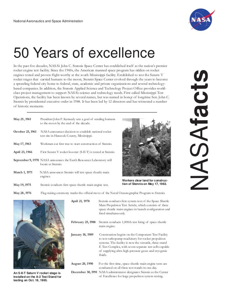 National Aeronautics and Space Administration50 Years of excellenceIn the past five decades, NASA's John C. Stennis Space C...