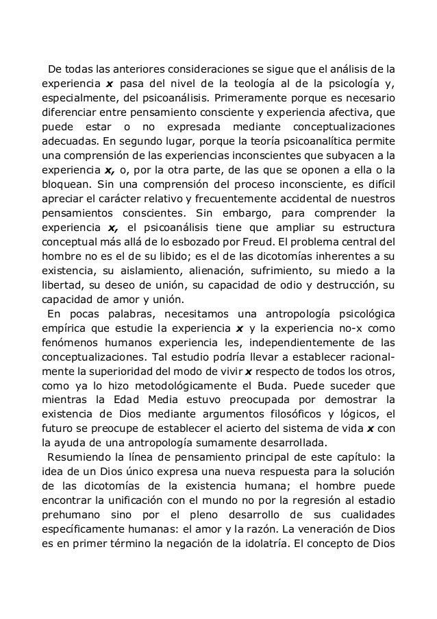 De todas las anteriores consideraciones se sigue que el análisis de la experiencia x pasa del nivel de la teología al de l...