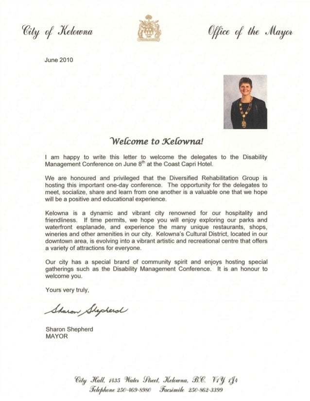 Marvelous Welcome Letter From Mayor