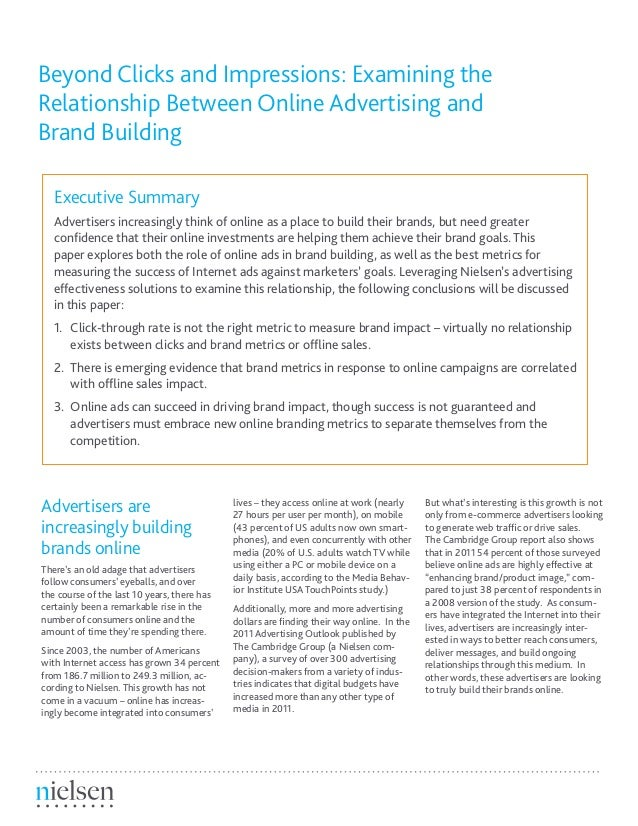 Beyond Clicks and Impressions: Examining theRelationship Between Online Advertising andBrand BuildingExecutive SummaryAdve...