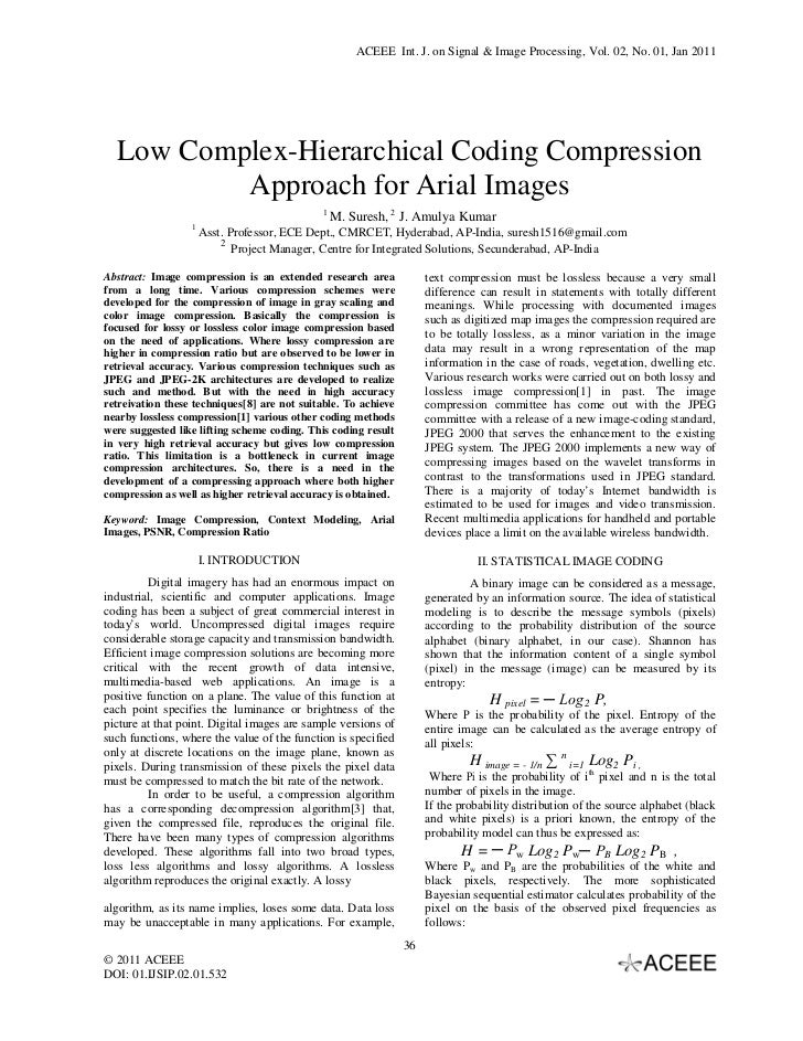 ACEEE Int. J. on Signal & Image Processing, Vol. 02, No. 01, Jan 2011  Low Complex-Hierarchical Coding Compression        ...