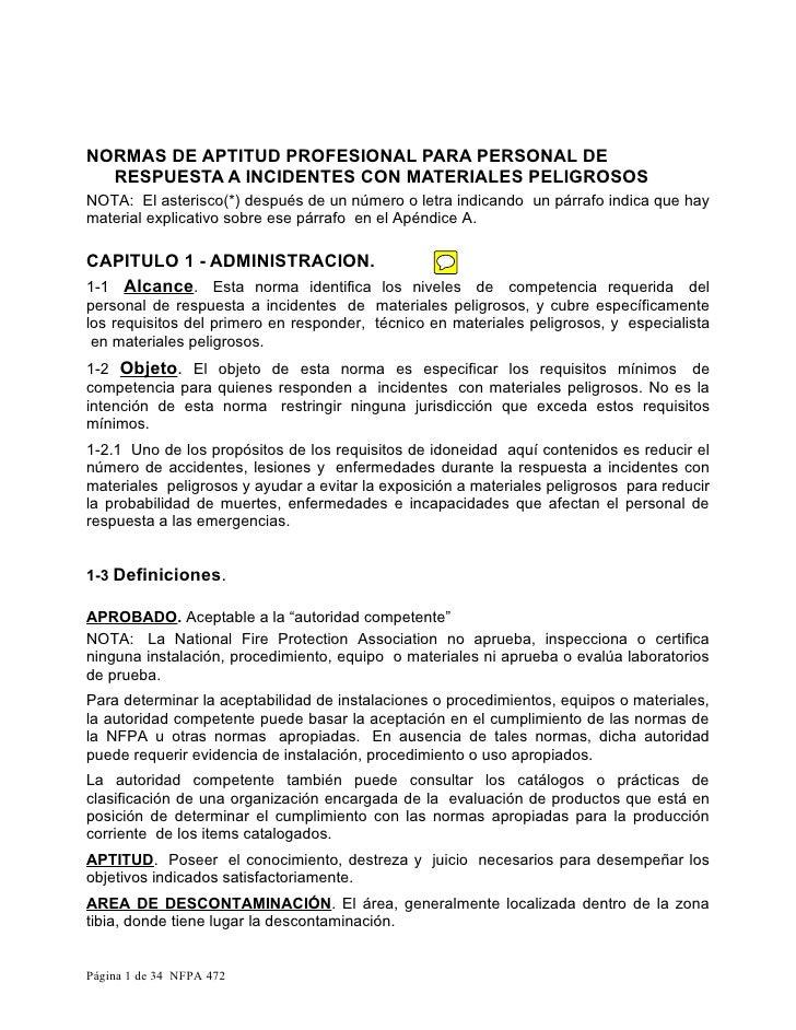 NORMAS DE APTITUD PROFESIONAL PARA PERSONAL DE  RESPUESTA A INCIDENTES CON MATERIALES PELIGROSOSNOTA: El asterisco(*) desp...