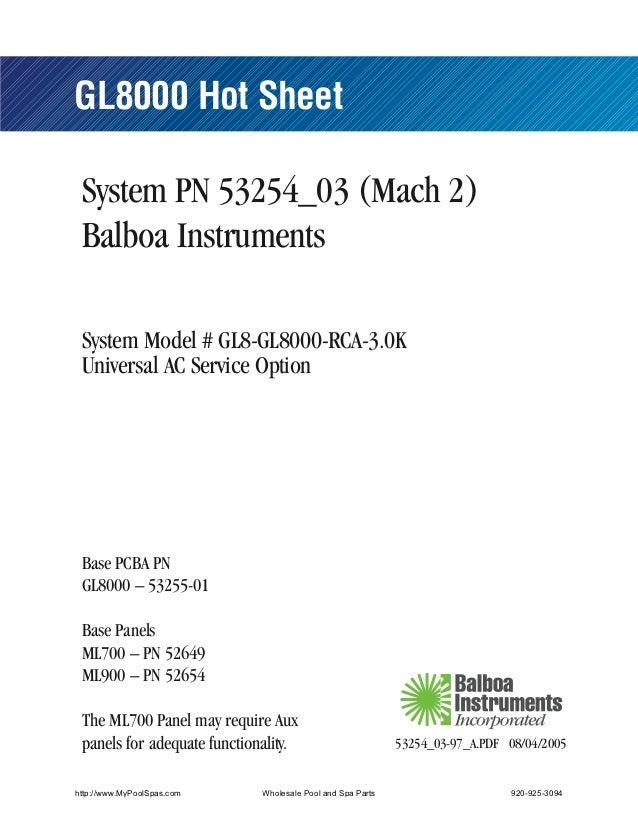 GL8000 Hot Sheet System PN 53254_03 (Mach 2) Balboa Instruments System Model # GL8-GL8000-RCA-3.0K Universal AC Service Op...