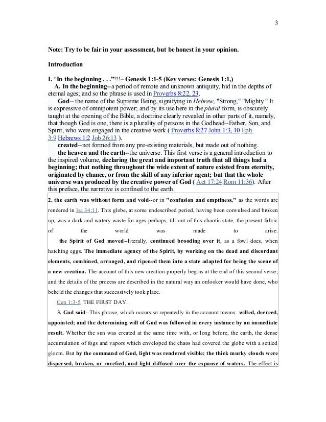 Sermon Outline Genesis 1 JFBC