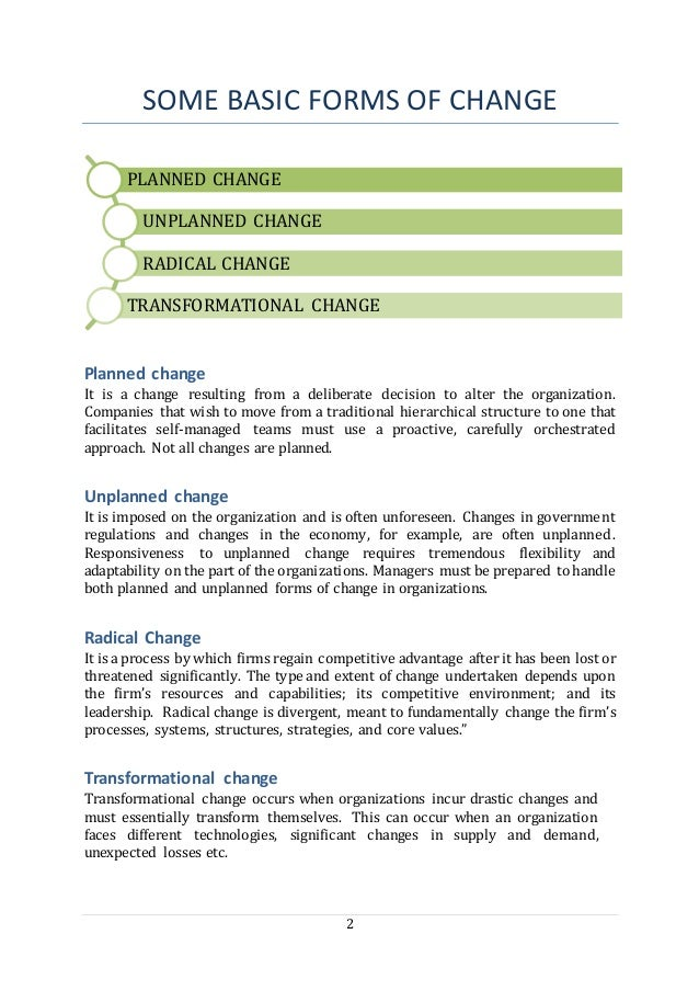 2 SOME BASIC FORMS OF CHANGE Planned change It is a change resulting from a deliberate decision to alter the organization....