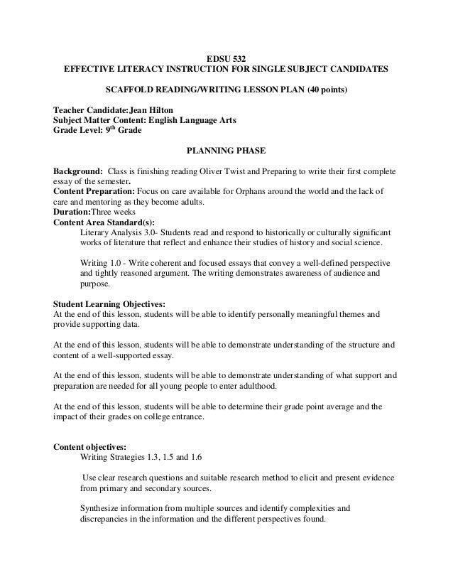 single subject lesson plan template