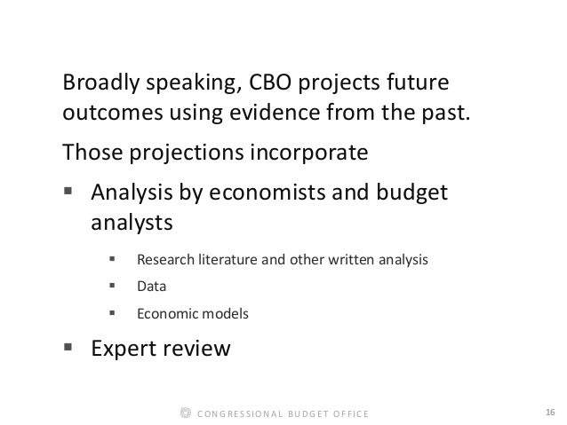 16CONGRESSIONAL BUDGET OFFICE Broadly speaking, CBO projects future outcomes using evidence from the past. Those projectio...