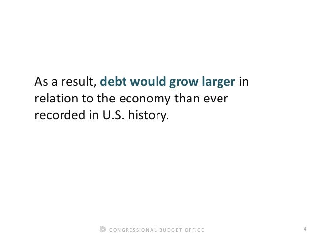 4CONGRESSIONAL BUDGET OFFICE As a result, debt would grow larger in relation to the economy than ever recorded in U.S. his...