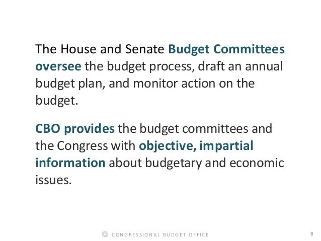 8CONGRESSIONAL BUDGET OFFICE The House and Senate Budget Committees oversee the budget process, draft an annual budget pla...