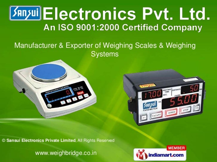 Manufacturer & Exporter of Weighing Scales & Weighing                            Systems© Sansui Electronics Private Limit...