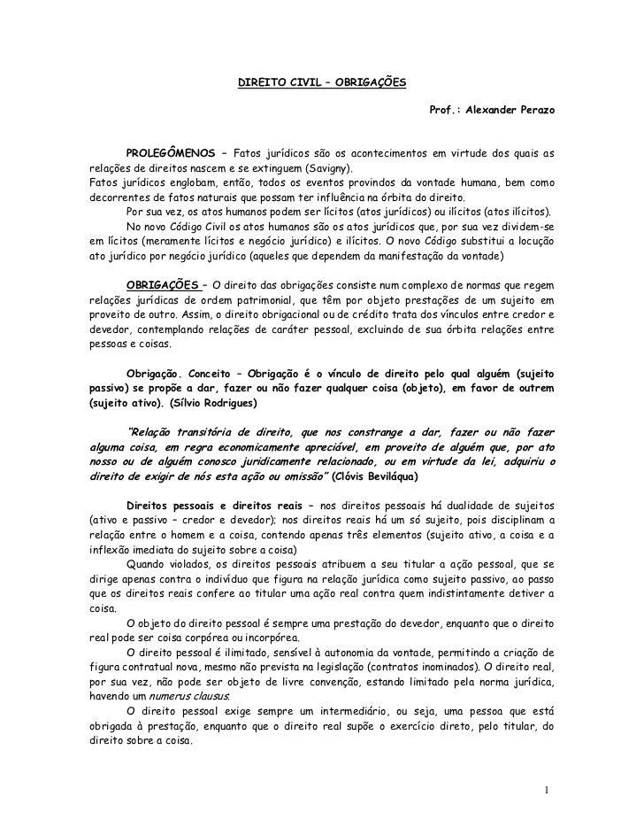 DIREITO CIVIL – OBRIGAÇÕES                                                                         Prof.: Alexander Perazo...