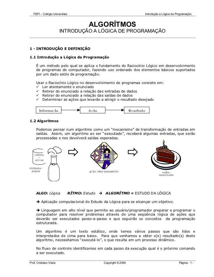 FEPI – Colégio Universitas                                                  Introdução a Lógica de Programação            ...