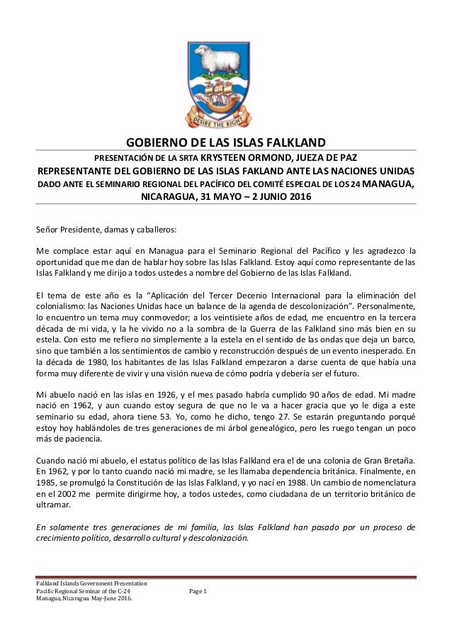 Falkland Islands Government Presentation Pacific Regional Seminar of the C-24 Page 1 Managua, Nicaragua. May-June 2016. GO...