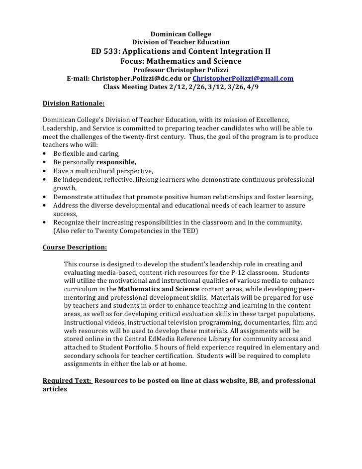 Dominican College                              Division of Teacher Education                ED 533: Applications and Conte...