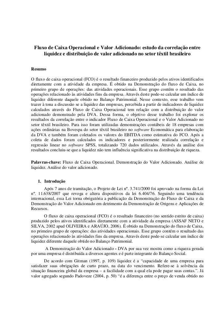 Fluxo de Caixa Operacional e Valor Adicionado: estudo da correlação entre     liquidez e distribuição de valor adicionado ...