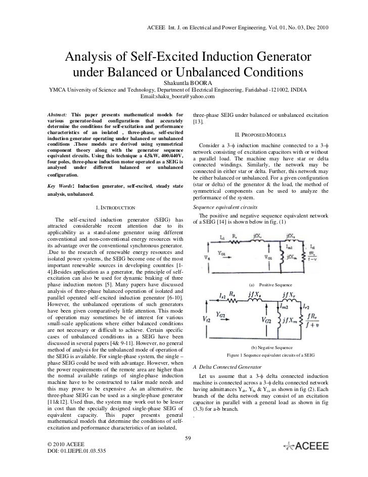 ACEEE Int. J. on Electrical and Power Engineering, Vol. 01, No. 03, Dec 2010       Analysis of Self-Excited Induction Gene...