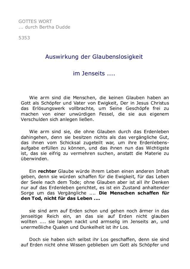 GOTTES WORT ... durch Bertha Dudde 5353 Auswirkung der Glaubenslosigkeit im Jenseits .... Wie arm sind die Menschen, die k...