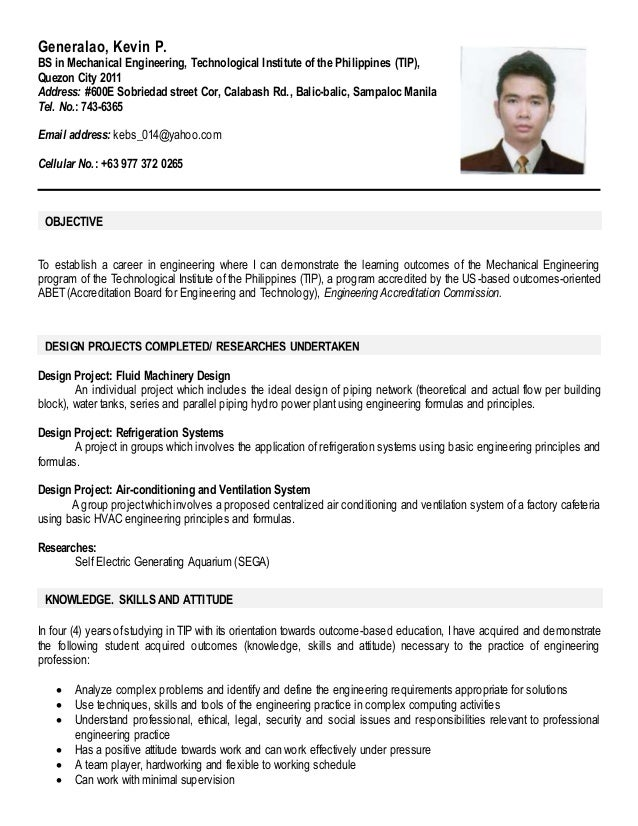 Sample Resume For English Major