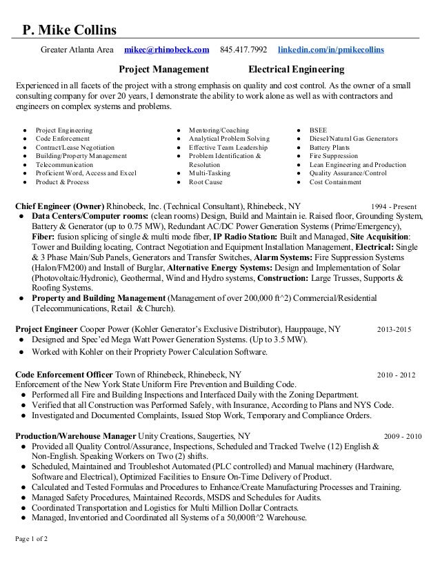 P Mike Collins Project Manager Resume 04.15.16