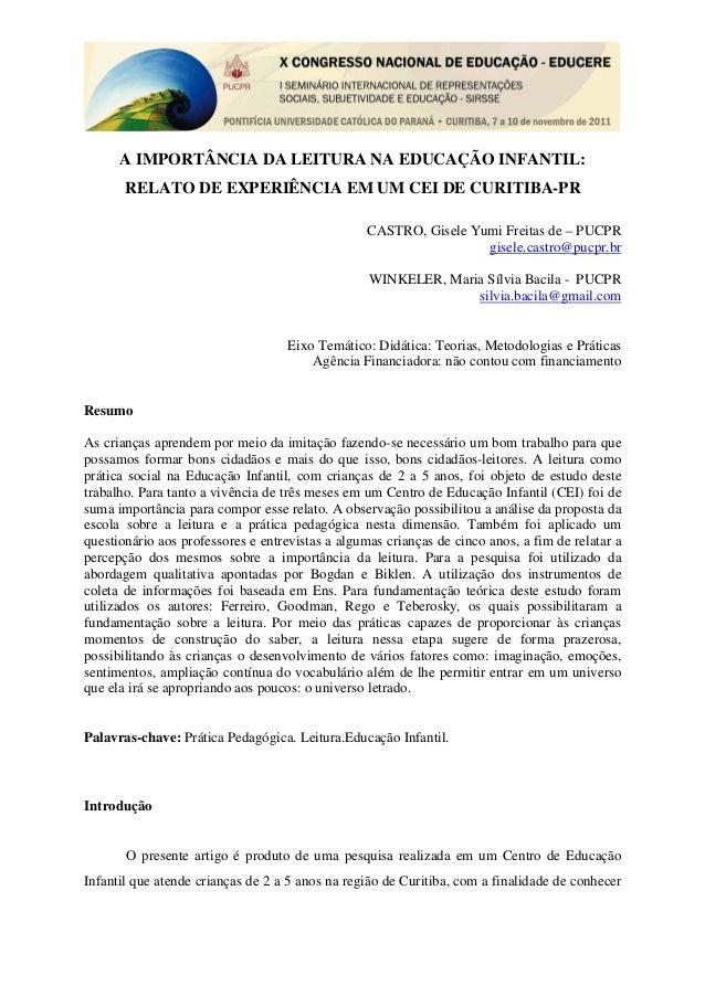 A IMPORTÂNCIA DA LEITURA NA EDUCAÇÃO INFANTIL:       RELATO DE EXPERIÊNCIA EM UM CEI DE CURITIBA-PR                       ...