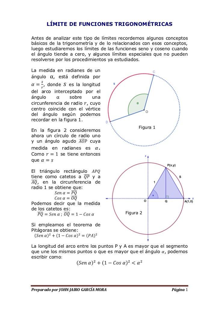 LÍMITE DE FUNCIONES TRIGONOMÉTRICASAntes de analizar este tipo de límites recordemos algunos conceptosbásicos de la trigon...