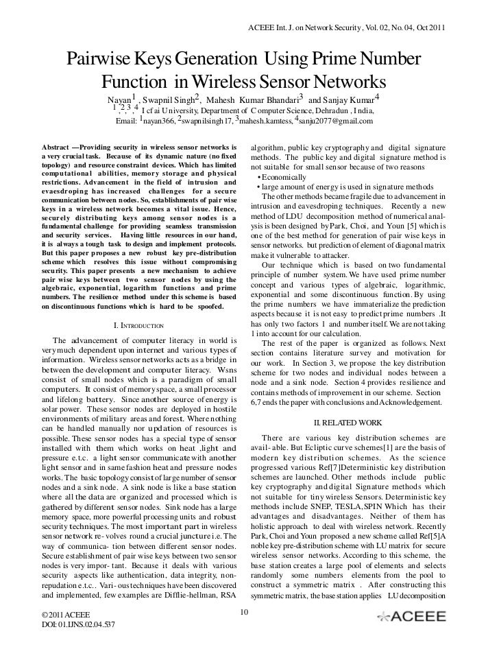 ACEEE Int. J. on Network Security , Vol. 02, No. 04, Oct 2011       Pairwise Keys Generation Using Prime Number           ...