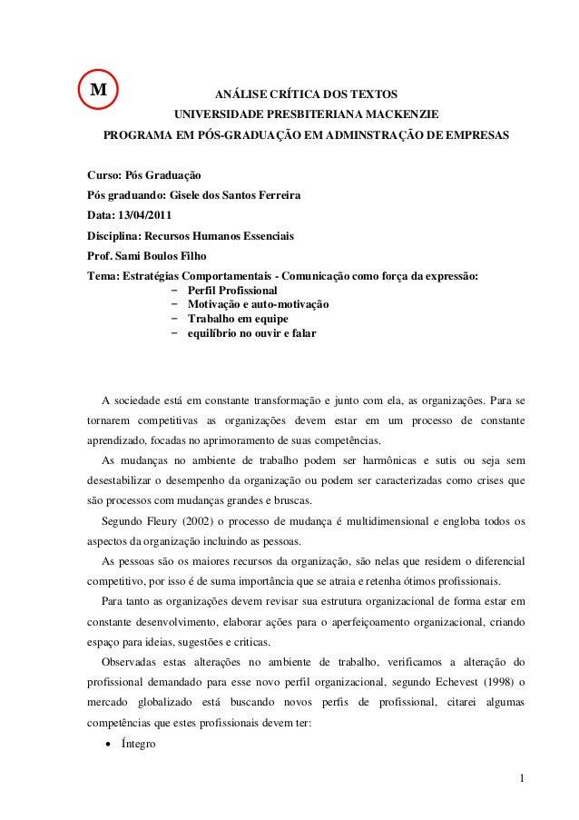 M  ANÁLISE CRÍTICA DOS TEXTOS UNIVERSIDADE PRESBITERIANA MACKENZIE  PROGRAMA EM PÓS-GRADUAÇÃO EM ADMINSTRAÇÃO DE EMPRESAS ...
