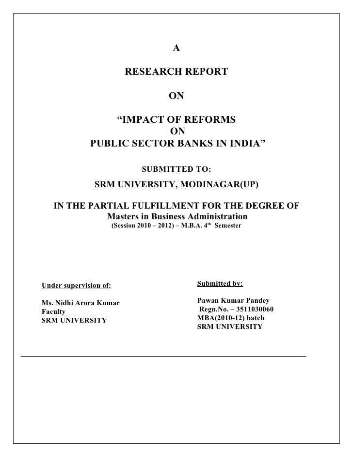 """A                            RESEARCH REPORT                                          ON                  """"IMPACT OF REFOR..."""