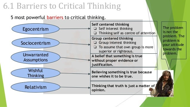 barriers to critical thinking egocentrism Barriers to critical thinking lack of relevant background information poor reading skills bias prejudice superstition 1 barriers to critical thinking wishful thinking short-term thinking selective perception selective memory overpowering emotions self deception face saving fear to change 2.
